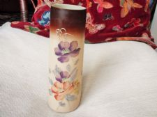 ANTIQUE OPALINE BEIGE GLASS VASE HANDPAINTED FLOWERS LIGHT GILDING BROWN RIM